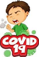 covid-19 con niño enfermo tosiendo vector