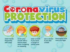 cartel de protección de coronavirus vector
