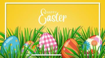 Easter Frame with Painted Eggs in Grass vector