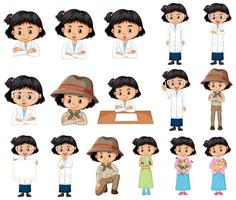 Black-Haired Girl in Different Clothes vector