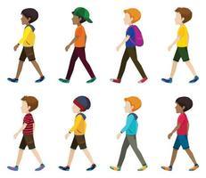 jóvenes sin rostro caminando vector