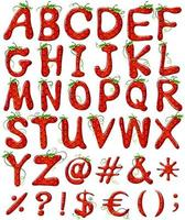 letras de alfabetos de morango vetor