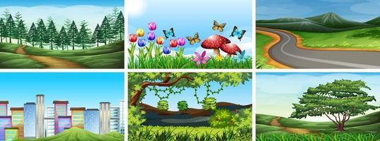 conjunto de escenas de la ciudad y la naturaleza vector