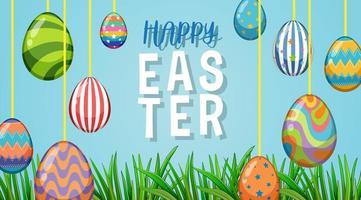 Poster Easter with Hanging Painted Eggs vector