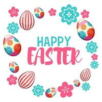Happy Easter with Painted Eggs and Flowers vector