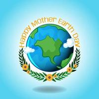 Happy Mother Earth Day with Earth and Laurel Leaves vector