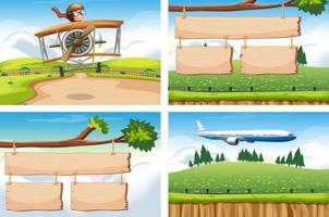 Four scenes with airplane flying vector