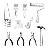 collection de croquis d'outils maison vecteur