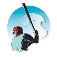 jugador de béisbol en el bosquejo del murciélago vector