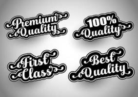 Collection of quality themed sticker designs vector