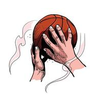 Hand throwing a basketball sketch