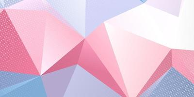 Low poly pink blue banner with halftone dots overlay