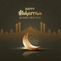 Happy muharram islamic new year card with sparkly moon design