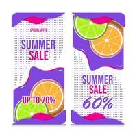 bannières colorées de vente d'été