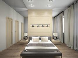 Modern interior of a bedroom 3d rendering photo