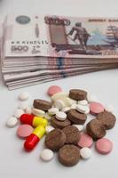 Pills in the background rubles photo
