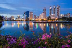 Bangkok city downtown at park with reflection