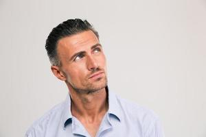 Confident man looking away at copyspace