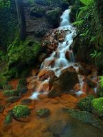 Cascades in rapid stream of mineral water. Ferric sediments photo