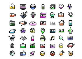 Set of high quality colorful web icons vector