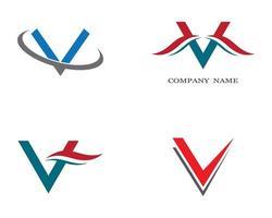 conjunto de logotipo de símbolo de letra v vector