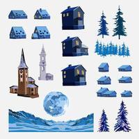 Conjunto pintado de casas, torres y elementos del paisaje. vector