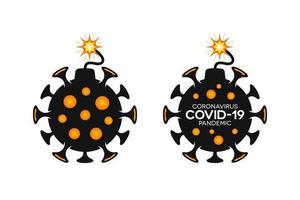 iconos de coronavirus en forma de bomba covid-19