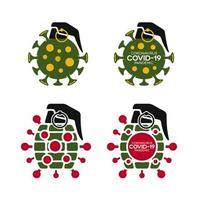 coronavirus covid-19 set di icone bomba granata