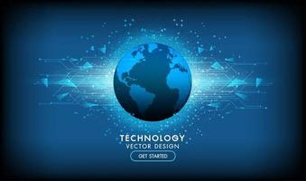 design tecnologico con forme luminose dietro il pianeta