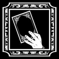 Hand holding book in ornate frame vector