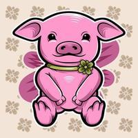 lindo cerdo rosa sobre fondo floral vector