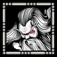 hombre con ojos rojos y barba larga vector