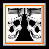 Twin Skulls in Orange Frame