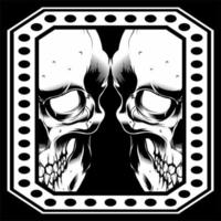 Double Skull Face in Dot Frame