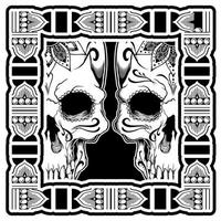 Twin Native Skulls Side by Side
