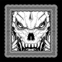 Black and White Demon Skull in Frame