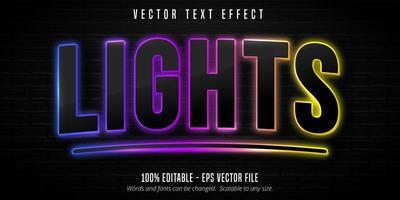 Lights neon text effect vector