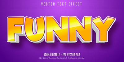 Funny bold shiny yellow text effect  vector