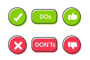 Do and don't like and dislike icon set vector