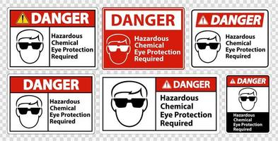 Hazardous Chemical Eye Protection Required Signs vector