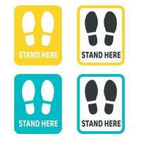 Social distancing standing signs vector