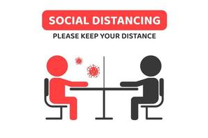 Social distancing concept with glass between people vector