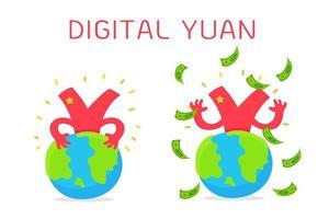 Cartoon digital Yuan currency around globes