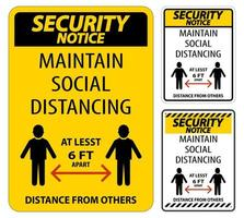 Maintain Social Distancing Security Notice Sign Set vector