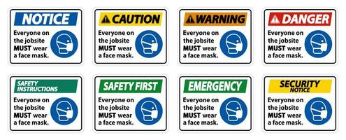 Wear A Face Mask on Jobsite Signs vector