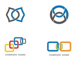 Corporate abstract shapes logo set vector