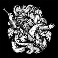 Black and White Zeus Drawing vector