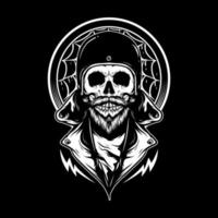 Skull Wearing Retro Bike Helmet vector