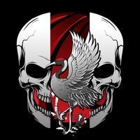 Skull Cut in Half and Heron  vector