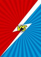 rayo azul y rojo versus diseño vector